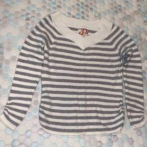 Super cute grey and white striped sweater.